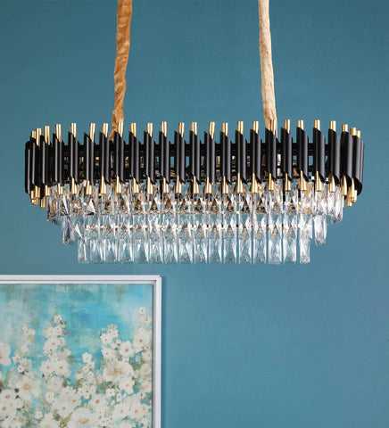 Oscuro Black Metal and Crystal Chandelier - 8 Lights