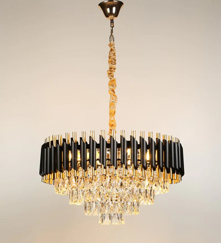 Oscuro Black Metal and Crystal Chandelier