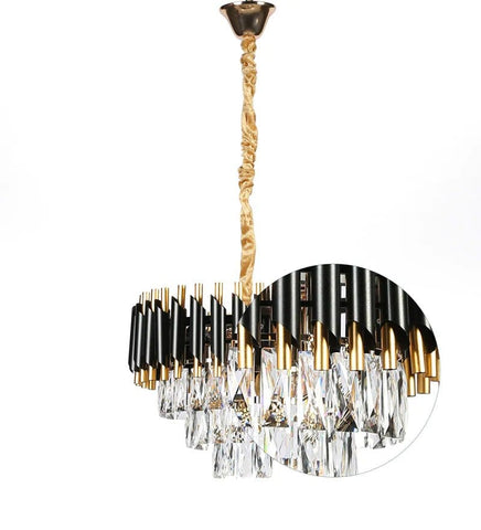 Oscuro Black Metal and Crystal Chandelier - 4 Lights
