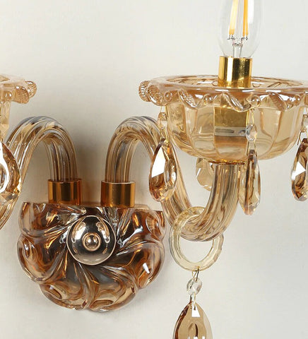 Palacio Gold Glass and Crystal Wall Light - 2 Lights
