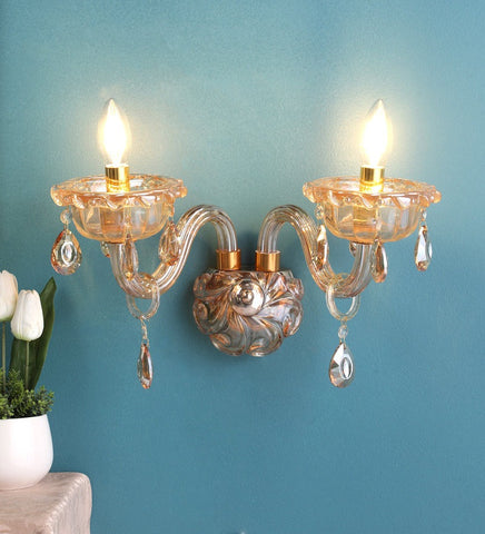 Palacio Gold Glass and Crystal Wall Light - 2 Lights - Stello Light Studio