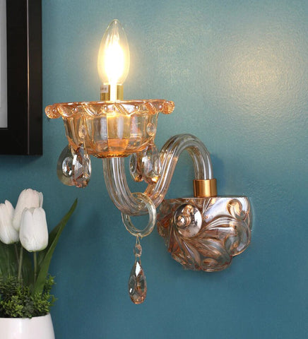 Palacio Gold Glass and Crystal Wall Light - Stello Light Studio
