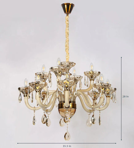 Perla Champagne Glass and Crystal Chandelier - 12 Lights
