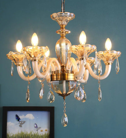Perla Champagne Glass and Crystal Chandelier - 6 Lights - Stello Light Studio