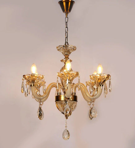 Perla Champagne Glass and Crystal Chandelier - 6 Lights