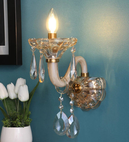 Perla Champagne Glass and Crystal Wall Light - Stello Light Studio