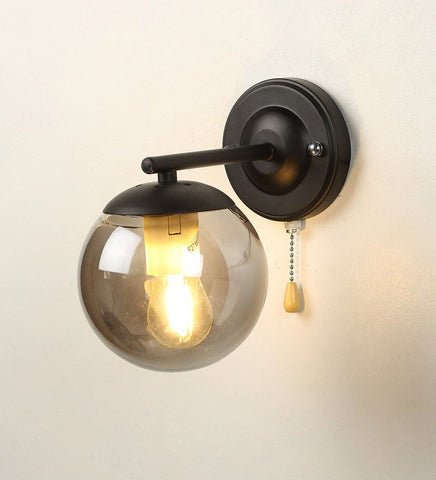 Uccello Black Metal and Glass Wall Light