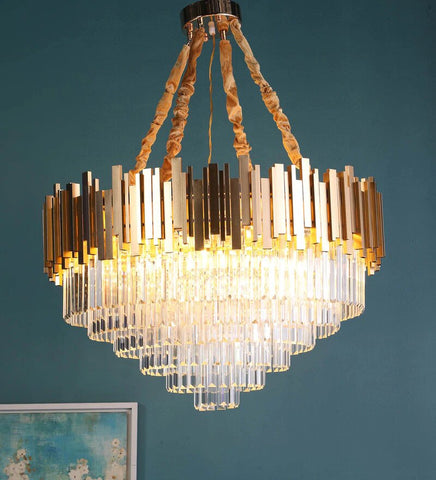 Vida Gold Crystal and Metal Chandelier - Stello Light Studio