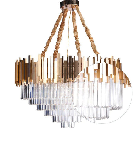 Vida Gold Crystal and Metal Chandelier