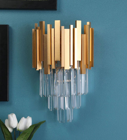 Vide Gold Metal and Crystal Wall Light