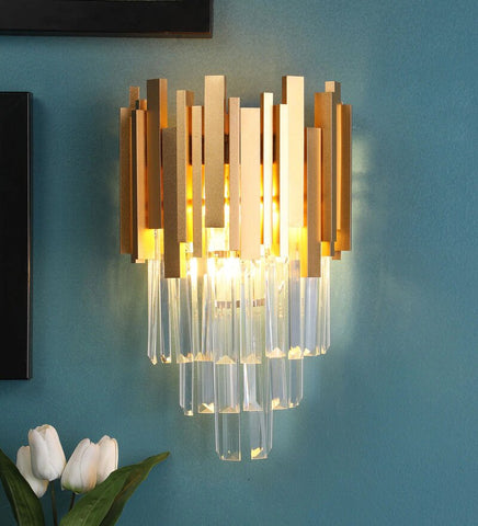 Vide Gold Metal and Crystal Wall Light - Stello Light Studio