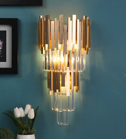 Vide Gold Metal and Crystal Wall Light - 3 Lights
