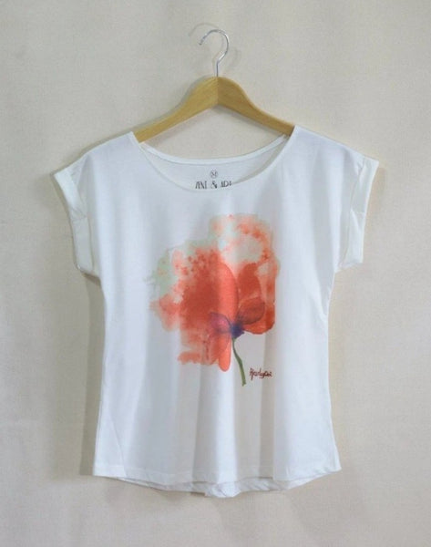 Lady Short Sleeve T-shirt watercolor blooming flower top