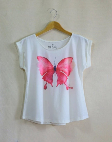 Lady short sleeves t-shirt pink-butterfly
