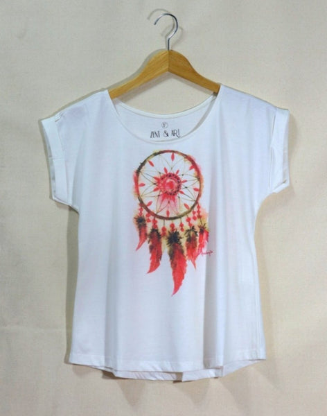 Lady short sleeves thin-collar watercolor dream catchers t-shirt