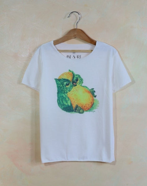 Kids boys and girls thin collar soft fabric funny owl t-shirt