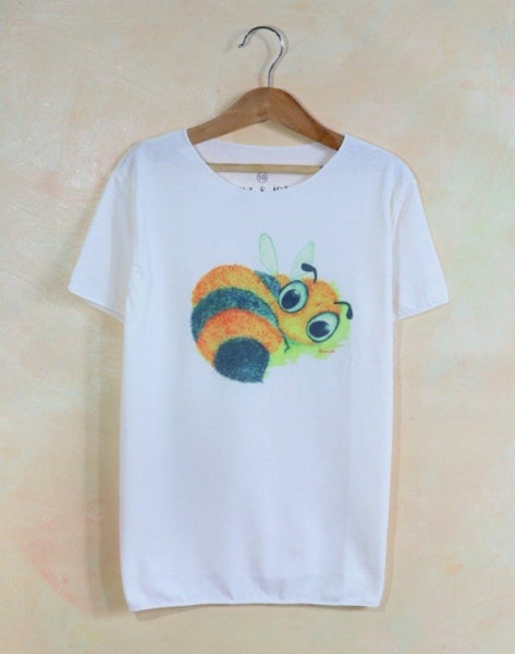 Kids boys and girls thin collar watercolor bees t-shirt