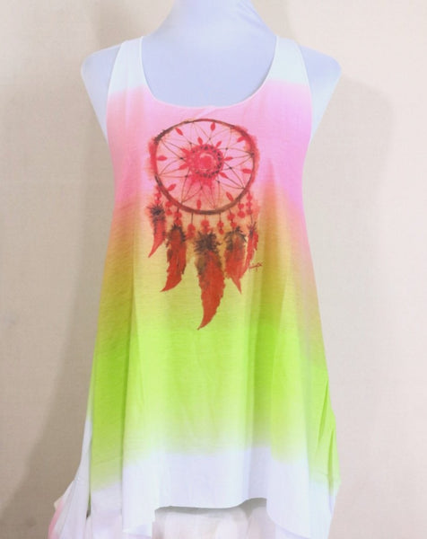 Sleeveless rainbow color with adjustable knot back dream catcher mini dress