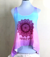 Rainbow color with adjustable knot back mandala lady vest