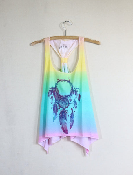 Rainbow color with adjustable knot back dream catcher lady vest