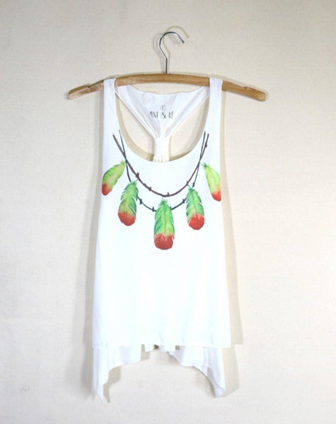 Singlet with adjustable knot back watercolor feather lady vest