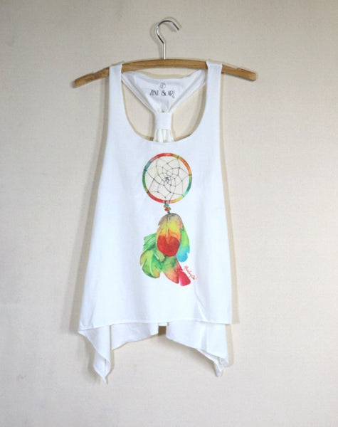 Singlet with adjustable knot back watercolor dream catcher lady vest