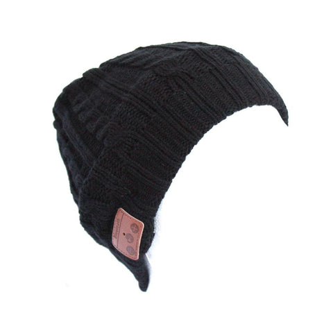 Bluetooth Music Beanie - Black Cable Knit