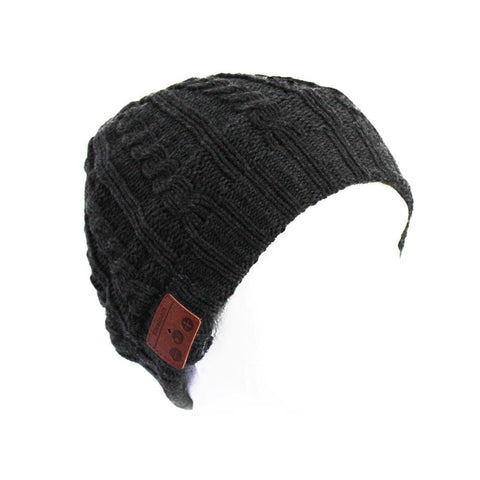 Bluetooth Music Beanie - Grey Cable Knit