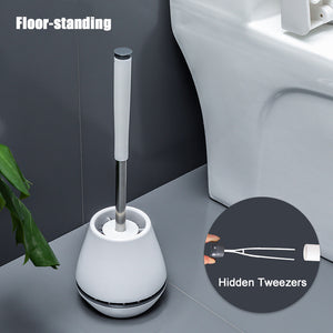 TPR Soft Silicone Toilet Brush With Hide Tweezers Toilet Bowl