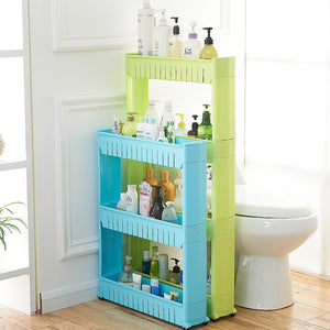 Movable Plastic Interspace Storage Rack - Kitchen/Bathroom Racks