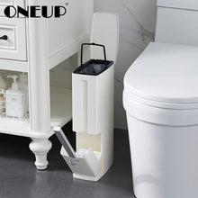 Load image into Gallery viewer, 2 in 1 Narrow Trash Can Set with Toilet Brush