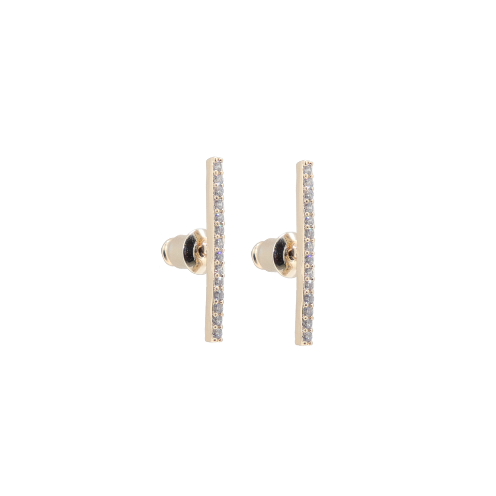 Fancy Pants Diamond Bar Gold Studs