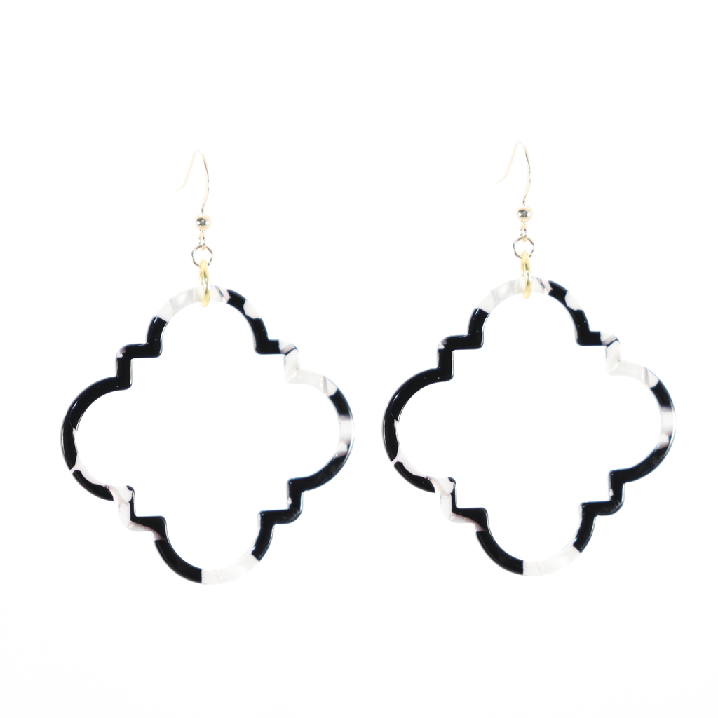 Lola Earrings - Black & White Wide