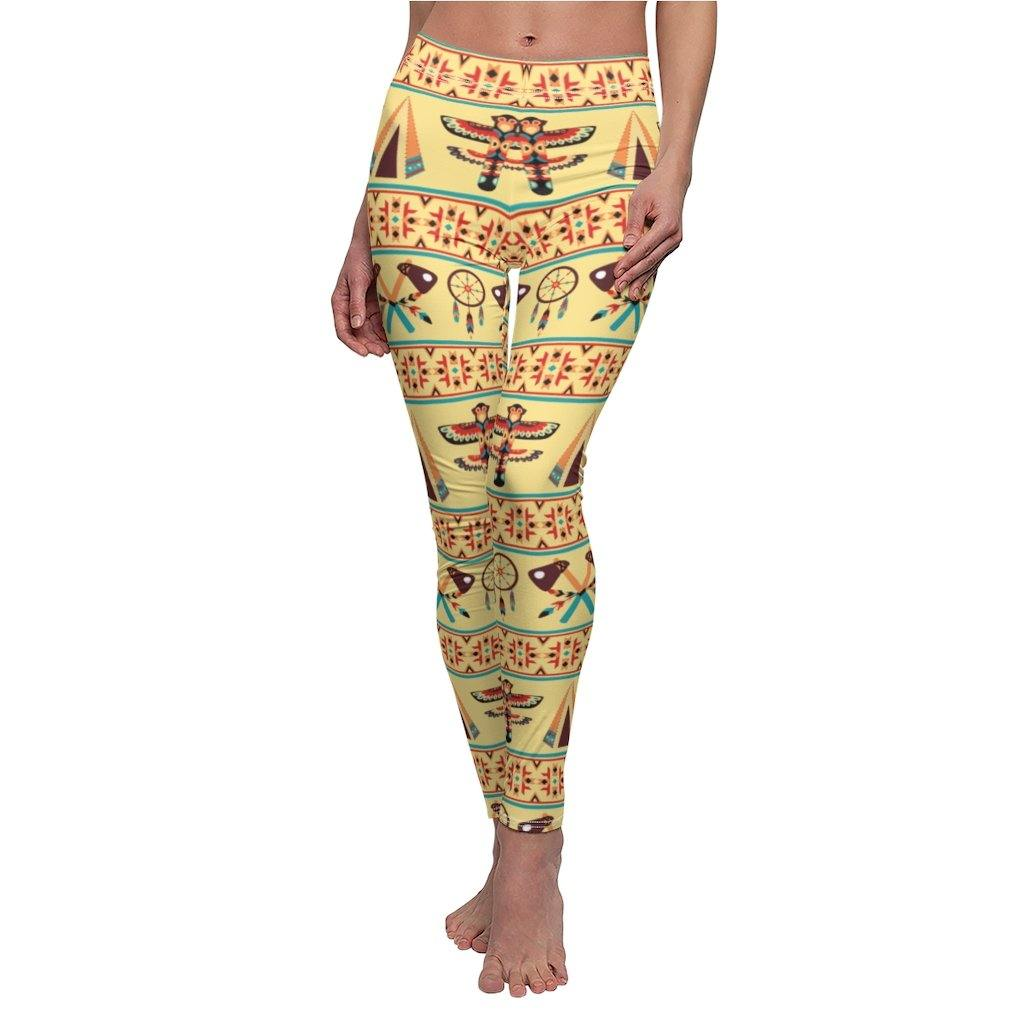 AZTEC INDIANS NAVAJO TRIBAL NATIVE AMERICAN PRINT PATTERN WOMEN LEGGINGS