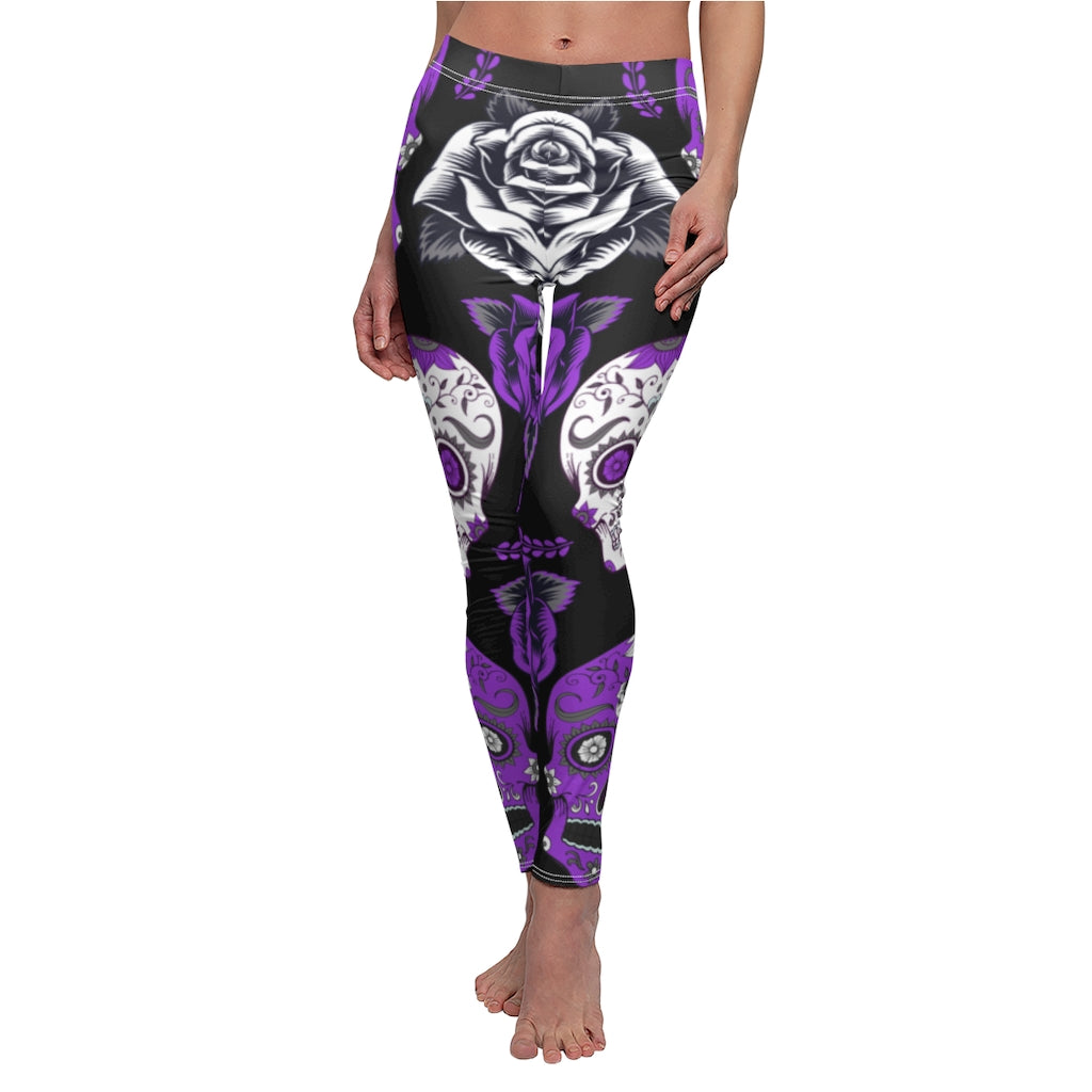 sissycos Women's Sugar Skull Printed Leggings Brushed Buttery Soft Ankle Length Tights