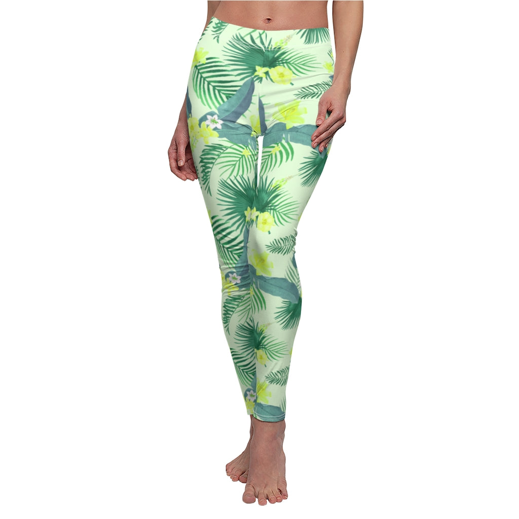 Tropical Leaves White Leggings | Tropical Summer Hawaii Leggings | Leggings, Capris, Yoga Pants, or Shorts