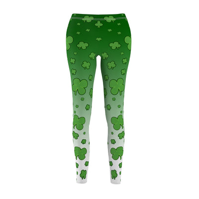 Waist High Yoga Leggings for Women, Shamrock Clover Irish St.Patrick's Day Leggings, Custom Print Handmade