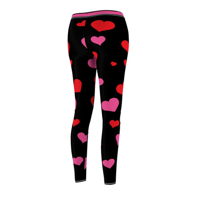 Leggings for Women, Valentines Day Heart Leggings, Custom Pink Heart Pattern, XS-XL