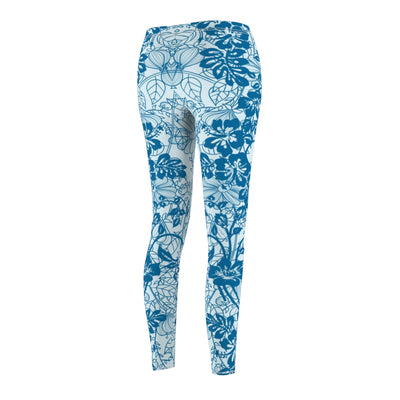Custom Quatrefoil Pattern Stretchy Capri Leggings Skinny Pants for Yoga Running Pilates Gym