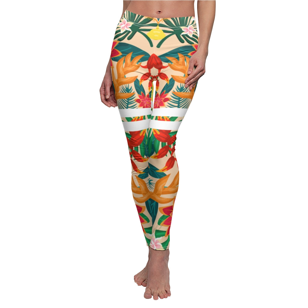 Tropical Pattern Leggings Green Printed Woman Flowers Orchid Palm Leaves Shaping Yoga Pants Workout Fitness Tights Floral Capri Gym