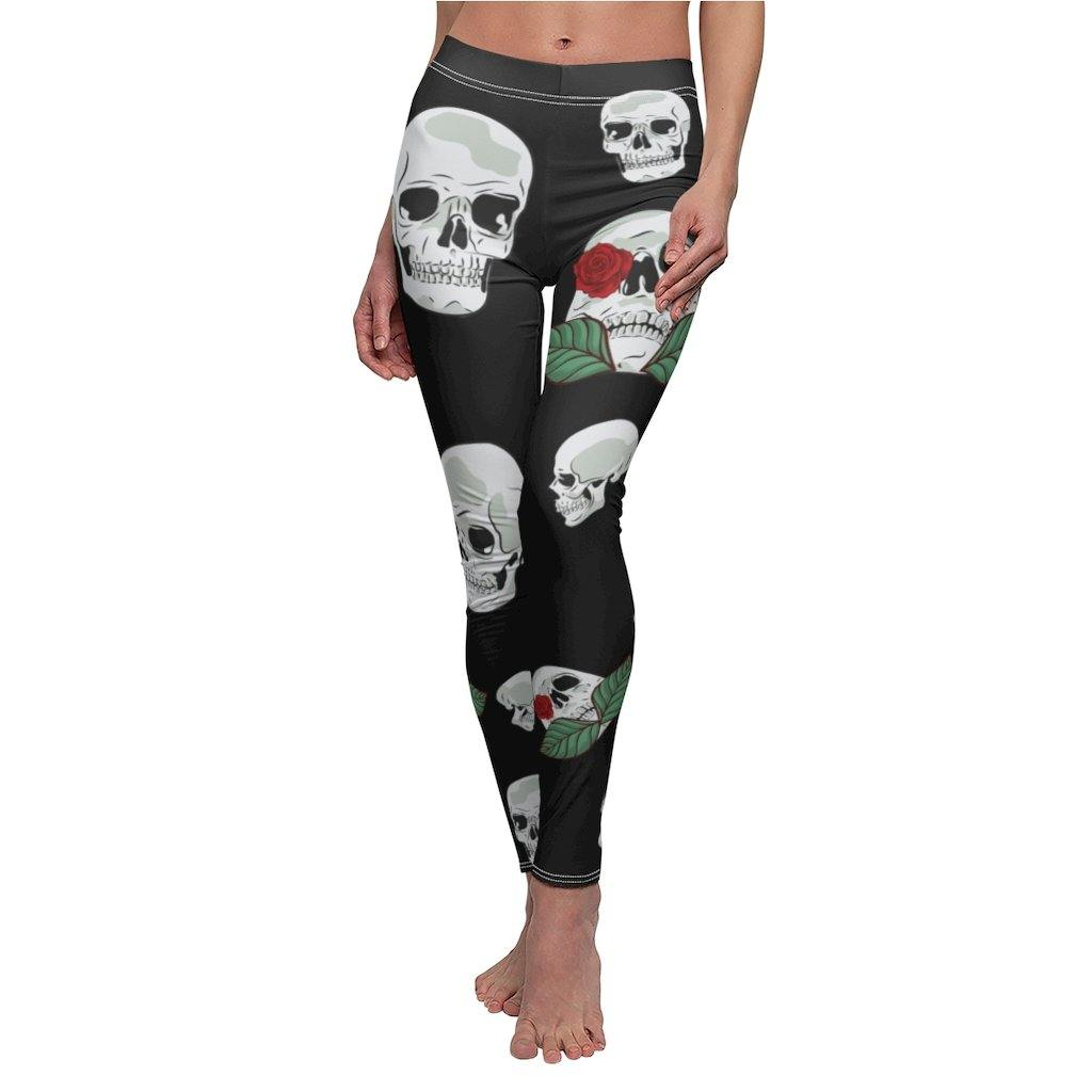 HS Women Skull Print Sports Leggings Yoga Workout Gym Sports Pants Stretch Trouse