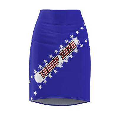 Trump 2020 Keep America Great Scribble Patriotic Stars Women's Pencil Skirt