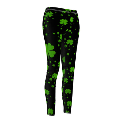 Waist High Yoga Capri Leggings for Women, Shamrock Clover, St. Patrick's Day Leggings, Custom Print Handmade