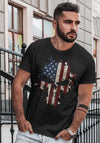 Skull USA Flag Patriotic Tactical Desaturated B&W Sleeve Print T-Shirt