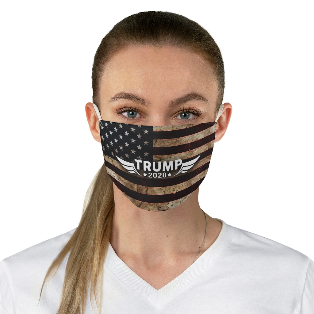 Trump 2020 Riveted Metal American Flag USA - Made in USA Unisex Anti-Dust Cotton Reusable & Washable Cloth Face Mask Adult or Child Size