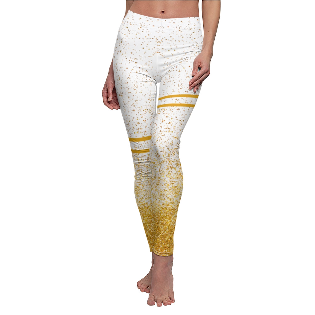 White & gold foil yoga wear / gym / running / dance leggings