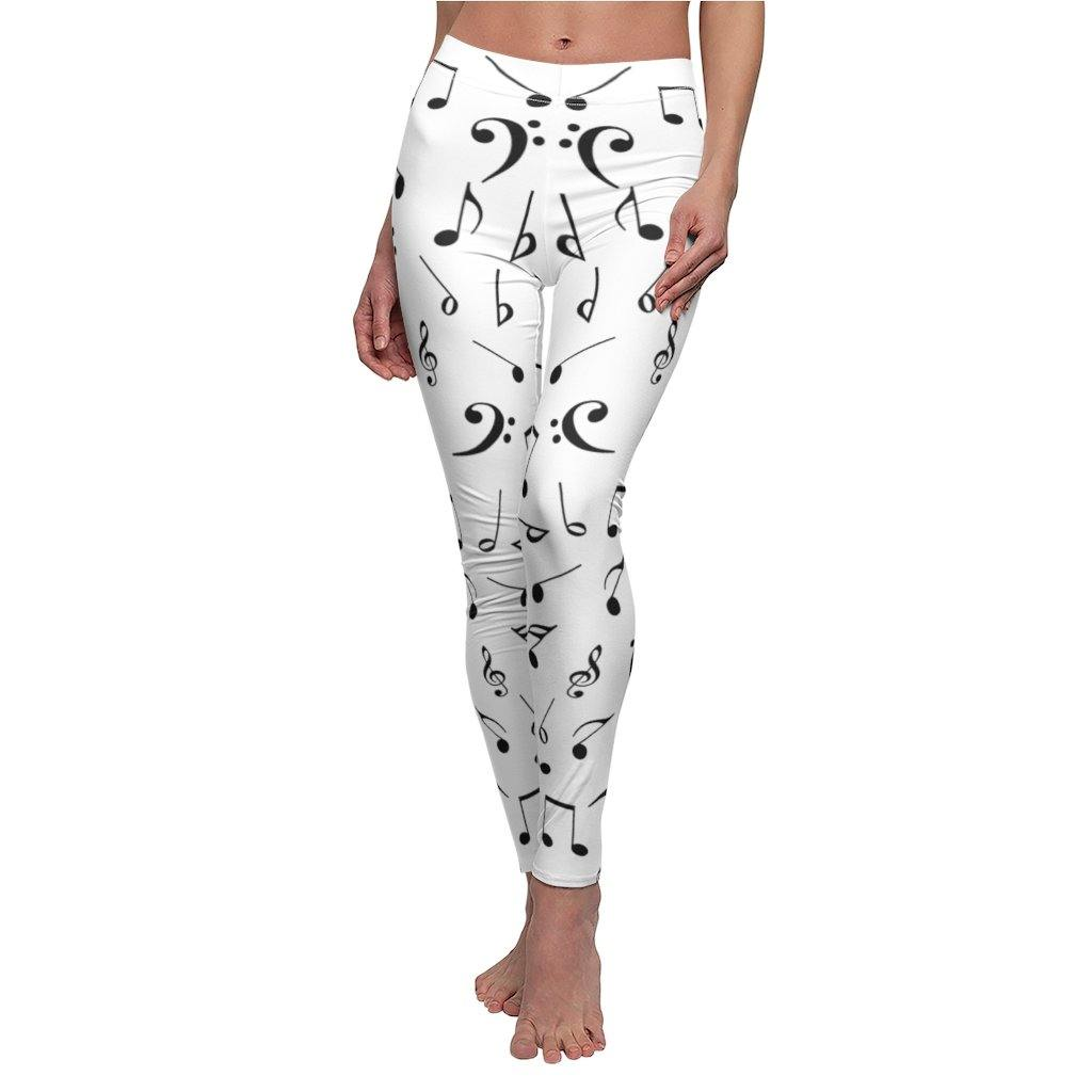 Music Notes White Leggings