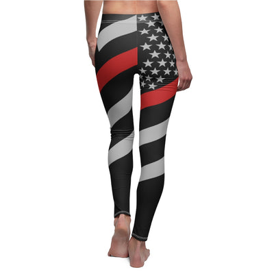 US Firefighter Support Red Leggings, US Red Line Flag Heroes Women Pants Gift