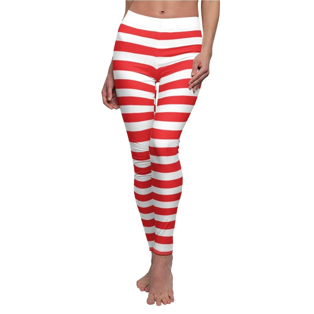 Candy and Elf Stripe Leggings for Christmas