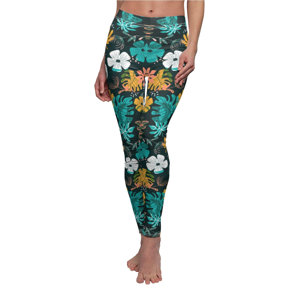 Tropical spring pattern on denim hight waist leggings, floral yoga leggings for women, spring leggings,flower yoga pants, workout leggings